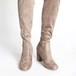 Chinese Laundry Grey Suede Over the Knee Boot